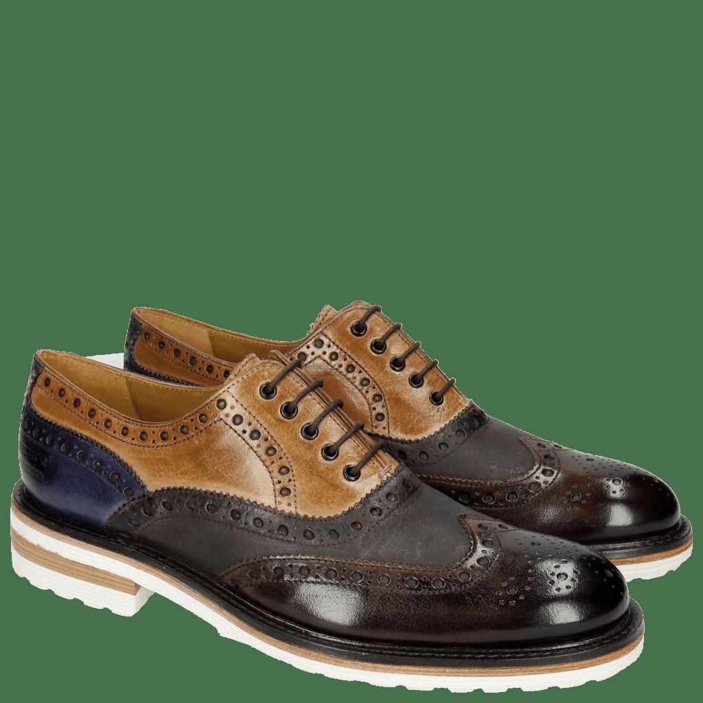 Oxford schoenen Trevor 1 Classic Dark Brown Tortora Cobalt Kudu Wax Wine Crip White