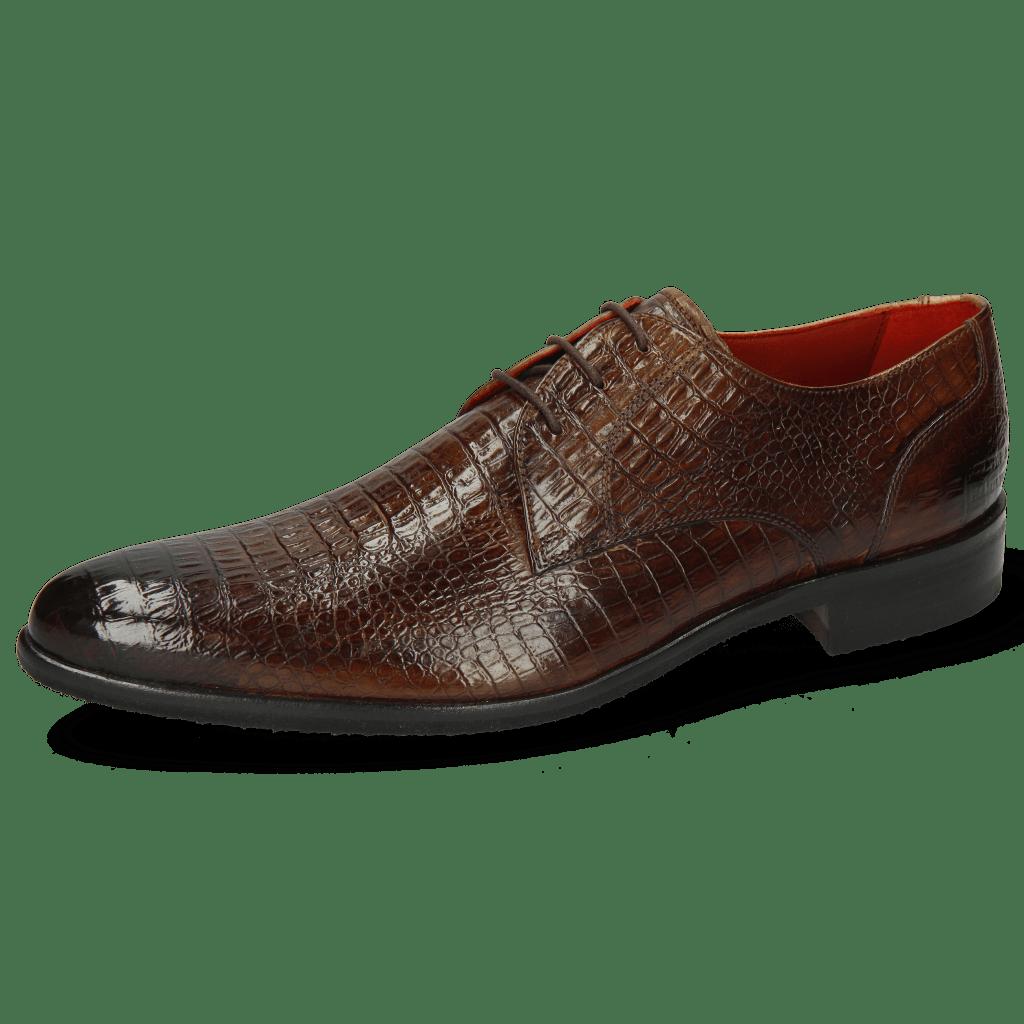 Derby schoenen Toni 1 Baby Croco Mid Brown Modica Navy