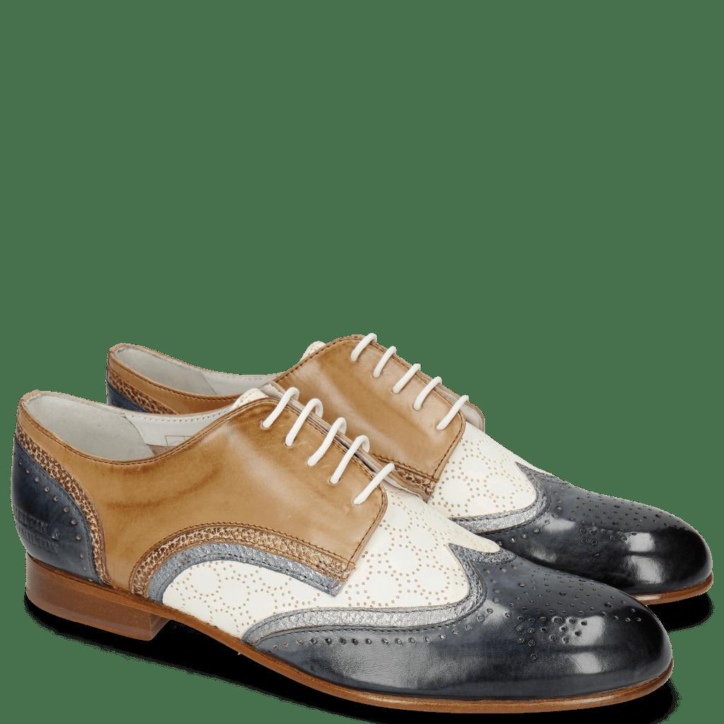 Derby schoenen Sally 15 Moroccan Blue Silver Vegas Perfo White Make Up
