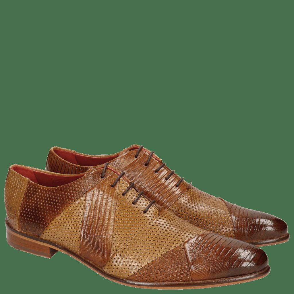 Oxford schoenen Toni 20 Guana Venice Perfo Tan Sand