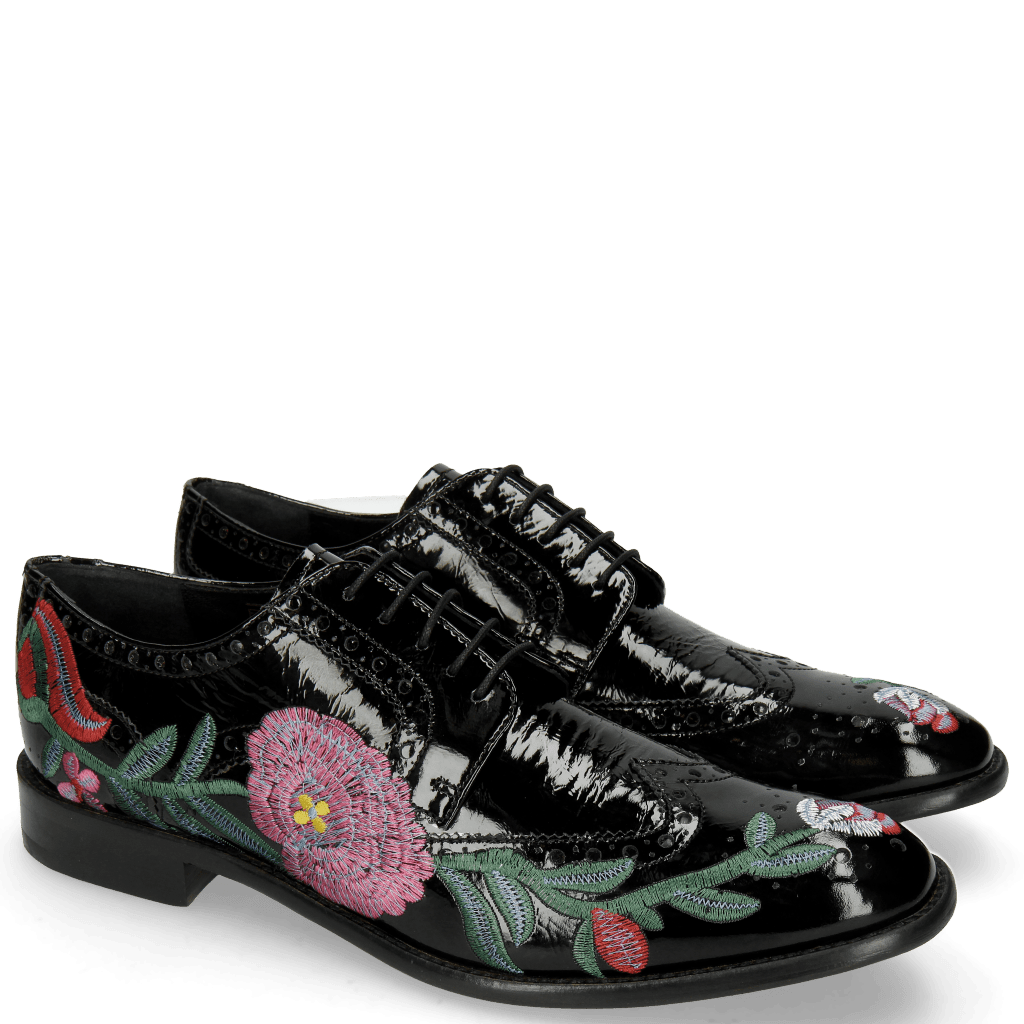 Derby schoenen Eddy 38 Soft Patent Black Embroidery Flowers