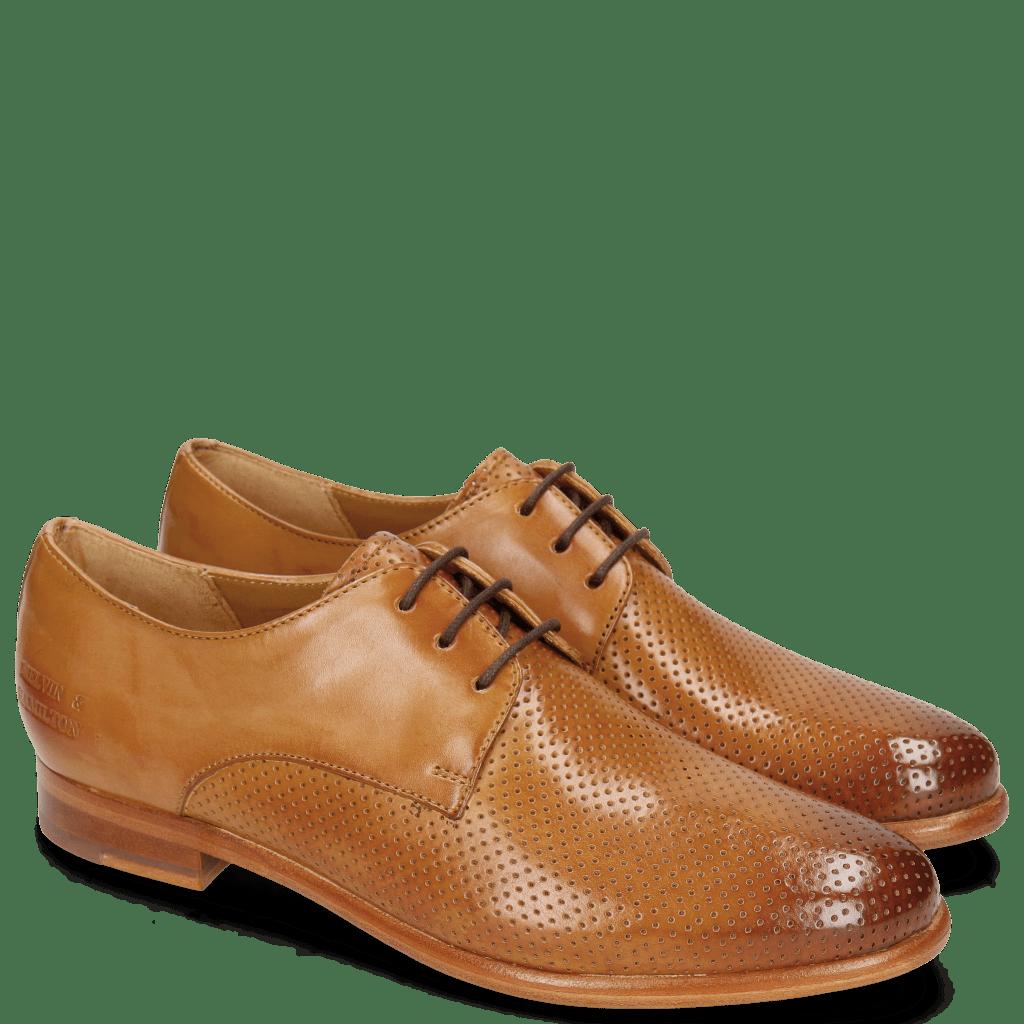 Derby schoenen Selina 23 Perfo Tan