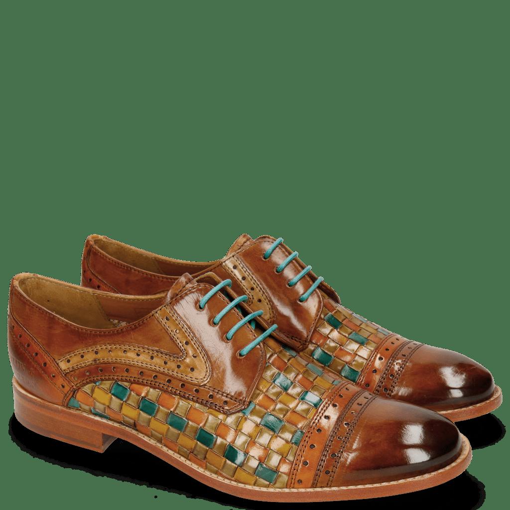 Derby schoenen Amelie 19 Woven Multi Cognac
