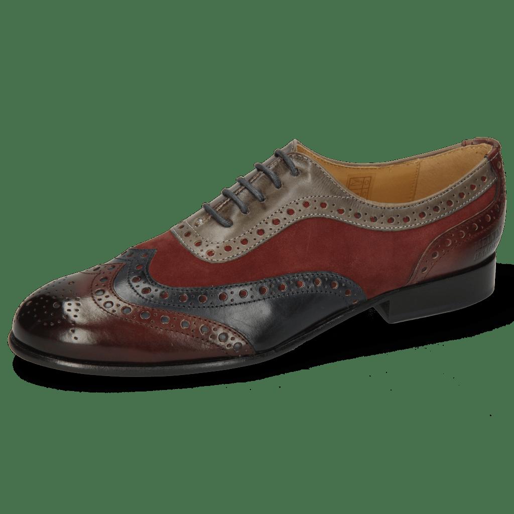 Oxford schoenen Sally 97 Wine Navy Sheep Suede Wine Grigio