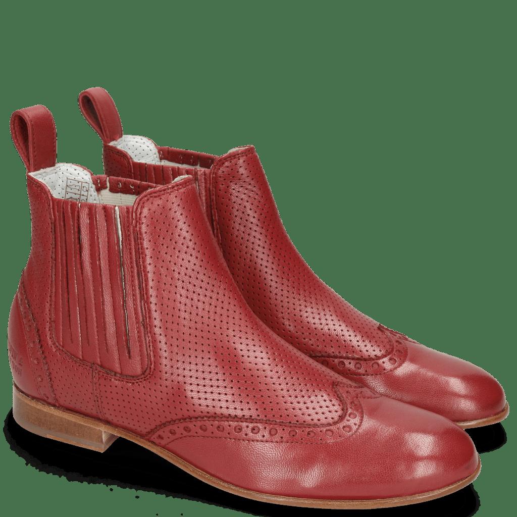 Enkellaarzen Sally 129 Nappa Glove Perfo Rich Red