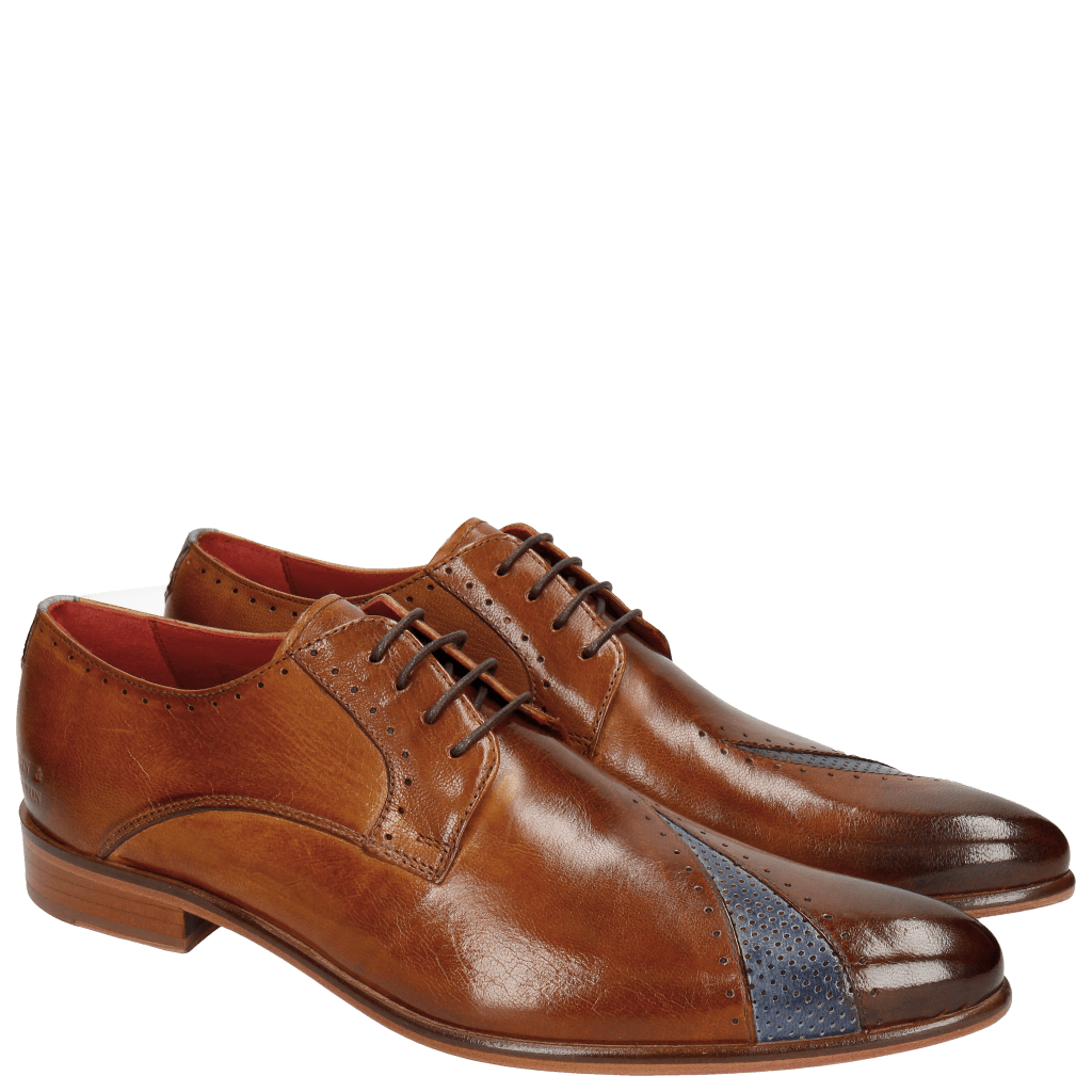 Derby schoenen Toni 8 Venice Perfo Cognac Moroccan Blue
