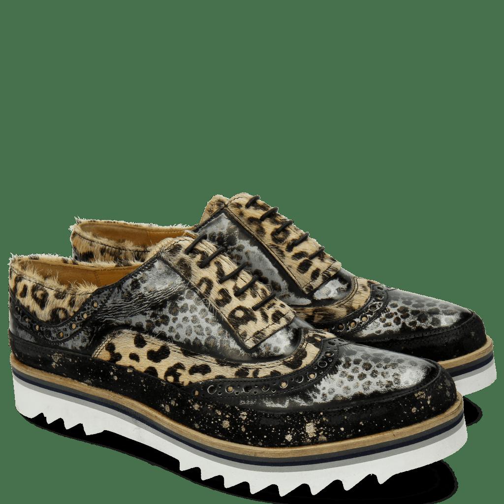 Oxford schoenen Lena 1 Suede Brush Hair On Leo Black Silver Leo Beige Dots