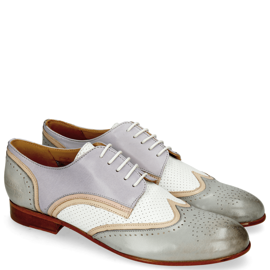 Derby schoenen Sally 15 Salerno French Grey Nude Nappa Perfo White Lavender