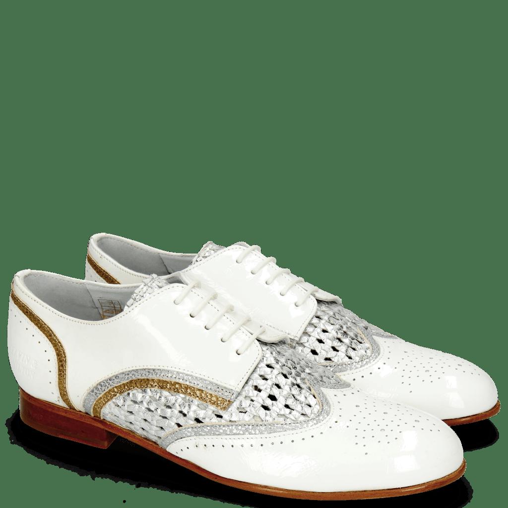 Derby schoenen Sally 15 Soft Patent White Grafi Silver Navy Woven Lame
