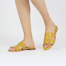 Muiltjes Hanna 74 Woven Yellow Socks Foam