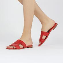Muiltjes Hanna 74 Woven Red Socks Foam