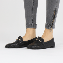 Loafers Aviana 1 Woven Black Trim Gold