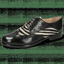 Derby schoenen Selina 41 Imola Black London Fog Hairon Zebra