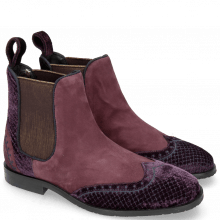 Enkellaarzen Giulia 2 Velluto Dark Purple Suede Chilena Deep Pink