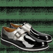 Monks Esther 5 Patent Black Laminato Gunmetal Rook D Black