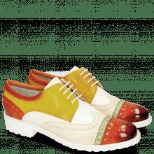 Derby schoenen Amelie 85 Vegas Sweet Heart Nude White Yellow Glove Nappa Kumquat