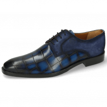 Derby schoenen Martin 1 Venice Turtle Mid Blue Suede Pattini Indigo