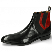 Enkellaarzen Elvis 73 Black Ostrich Ruby Backstrap