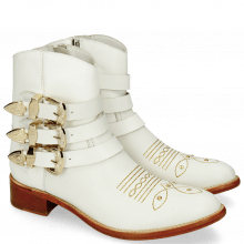 Enkellaarzen Blanca 3 White Rivets Gold
