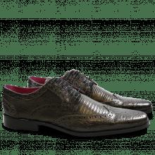 Derby schoenen Mark 3 Big Croco Guana Light Crock Lizzard Light Crock Black Gold Finish New HRS