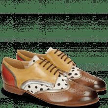 Derby schoenen Sally 15 Vegas Nougat Sand Nappa Aztek Gold Silver Hairon Wildcat