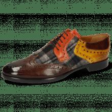 Derby schoenen Clint 19 Mid Brown Textile Crayon Winter Orange Indy Yellow