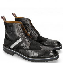 Enkellaarzen Eddy 26R Turtle Suede Pattini Black