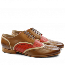 Derby schoenen Sally 15 Salerno Dark Tan Cappu Salerno Perfo Coral LS
