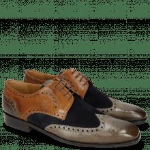 Derby schoenen Xander 5 Rio Stone Wood Suede Pattini Perfo Navy