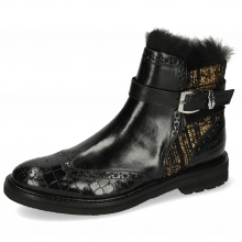 Enkellaarzen Amelie 67 Crock Black Textile Tweed Black Gold