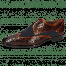 Derby schoenen Lance 11 Crock Mid Brown Wood Suede Pattini Navy