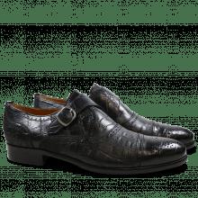 Monks Henry 11 Alligator Suede Croco Black HRS