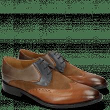 Derby schoenen Victor 9 Rio Wood Navy Stone Suede Pattini Cognac Textile