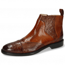Enkellaarzen Henry 29 Crock Brown Guanna Wood Turtle Tan Ostrich Haina