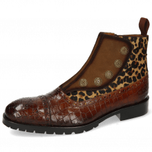 Enkellaarzen Patrick 22 Crock Wood Cognac Suede Pattini Tan Hairon Leo