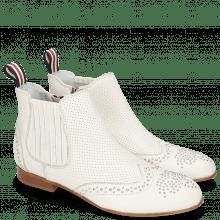 Enkellaarzen Sandy 4 Nappa Glove Perfo Cream Elastic Off White