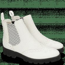 Enkellaarzen Selina 6 Nappa Perfo White Elastic Zigzag