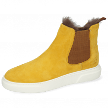 Enkellaarzen Hailey 2 Sheep Suede Yellow Elastic Glitter Fur
