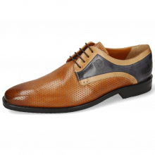 Derby schoenen Alex 10 Berlin Perfo Cognac Sand Navy