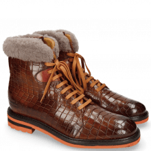 Enkellaarzen Trevor 19 Crock Wood Winter Orange Fur Taupe
