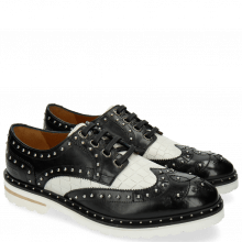 Derby schoenen Matthew 14 Venice Crock Black White Rivets