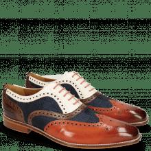 Oxford schoenen Leonardo 21 Sweet Heart Textile Rubics Navy Dark Brown Vegas White