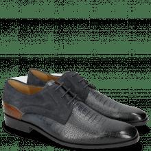 Derby schoenen Rico 14 Venice Baby Croco Navy Wood Suede Pattini Navy