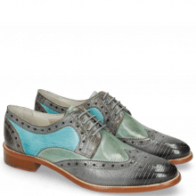 Derby schoenen Betty 15 Guana Clear Water Nappa Glove Tropical Sea Mermaid