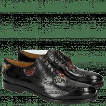 Derby schoenen Amelie 46 Crust Black Embrodery