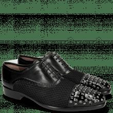Oxford schoenen Lance 23 Patent Black Net Black Rivets