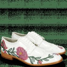 Derby schoenen Eddy 38 Soft Patent White Embroidery Flowers