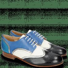 Derby schoenen Sally 15 Vegas Navy Nappa Aztek Silver Perfo White Neptune Blue