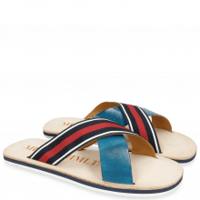 Muiltjes Sam 5 Mid Blue Strap Red Blue White