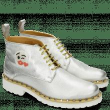 Enkellaarzen Bonnie 9 Cherso White Silver Emoji Kiss